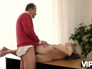 VIP4K. Caring old man seduces young lassie