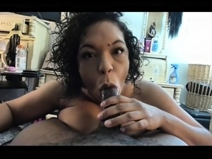 Big breasted ebony wife gets pounded hard by a black stud