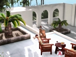 Dwarf pervert fucks a young girl in the expensive villa
