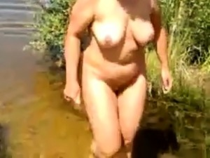 with my busty girl at the lake
