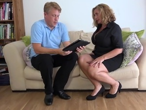 Busty natural mom gets mature cock