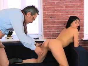 Pretty russian maid riding prick in front of camera