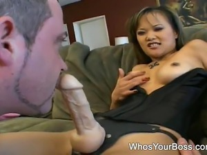 Smoking hot Asian femdom makes a submissive guy suck and fuck a strapon
