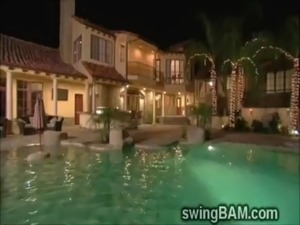 A bunch of hot couples watch a hot performance in swingers party free