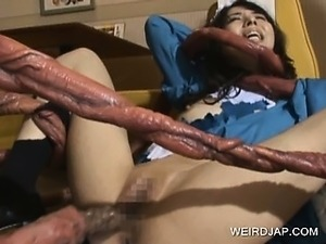 Japanese maid twat nailed by monster tentacles