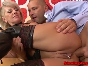 Alt granmother riding cock anally as she wears leather outfit
