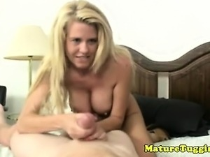 Amateur busty cougar MILF toying with dick