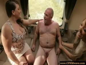 CFNM femdoms tugging their subs cock before sucking free