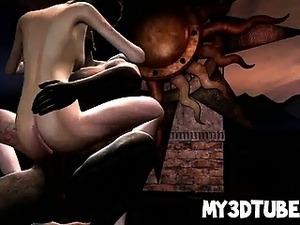 Hot 3D cartoon blonde babe taking a big black cock
