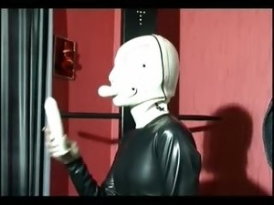 Girl in latex gets all wet and horny