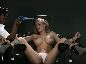 Strapped to the gyno chair blonde vibed in interracial