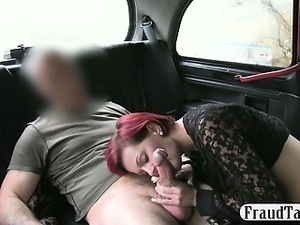 Amateur redhead offered money for sex by her cheeky taxi driver