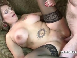 Mature swinger Sandie Marquez in thigh high stockings and fucking a guy she...