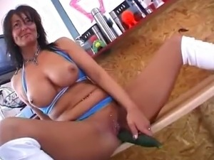 Euro MILF kitchen frolic with a pickle.