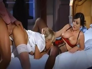 Posh ladies in sexy lingerie and stockings getting drilled so hard