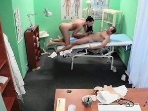 Doctor licks and fucks nurse in fake hospital