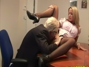 Classy clothed secretary seduces her boss free