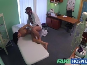 doctor rubs her tits and pussy