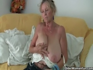 Granny with big tits masturbates in pantyhose free