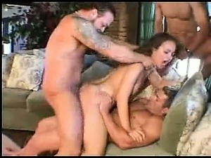 Delicious brunette fucking in gangbang