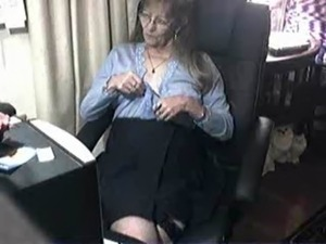 Pervert cute granny having fun at computer. Amateur free