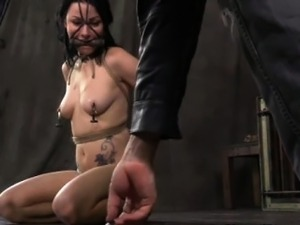 Nipple clamped slut being punished