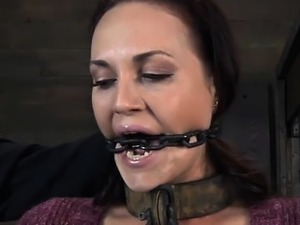 Chained up honey is punished
