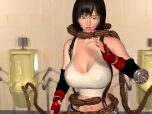 3D hentai slave in tentacles gives head