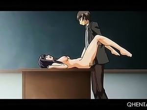 College hentai stunner fucked by horny teacher on his desk