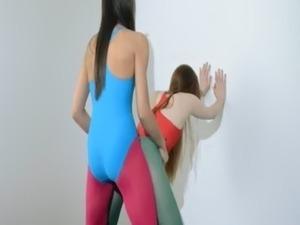 Hairy girl2girl in nylon pants loving free