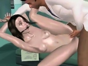Sexy 3D cartoon brunette getting fucked by her doctor