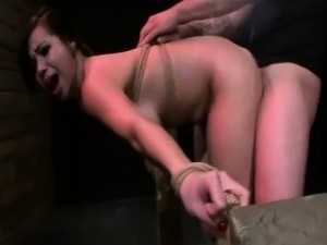 Brunette whore gets mouth screwed