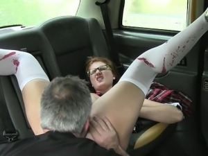 Nerd student ass fucked by taxi driver for a free fare