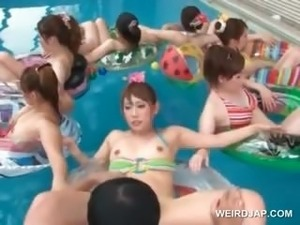 Asian sex doll get their twat played with in a pool