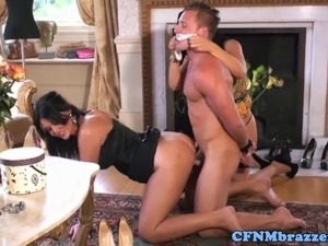 Busty milf cfnm duo fuck dude on floor