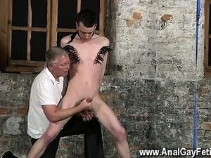 Naked guys With his delicate ball-sac tugged and his boner w