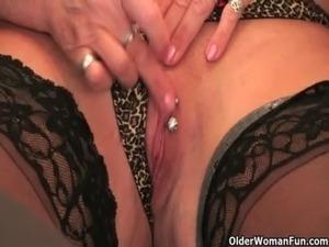 British and full figured granny Sandie masturbates with a dildo free
