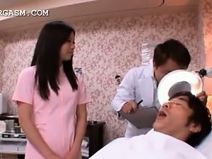 Cute asian nurse caught in a hot threesome at work