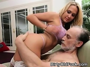 Big Titty Blonde Teen Riding Dirty Old Mans Face