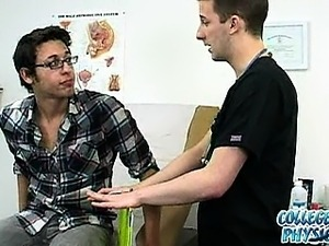 College boy gets down to his underwear in the doctor's