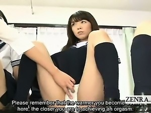 Subtitled Japan schoolgirls teacher clitoris inspection