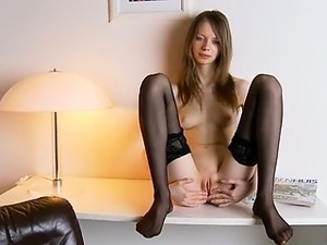 Black stockings and vagina masturbation