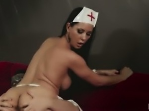 Naughty Laly dress up as a nurse and gets her pussy pounded.