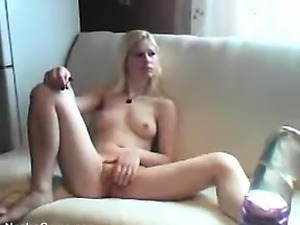 Blonde Slut Gets Naked And Mashes Her Muff
