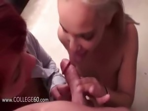 Two young bisexual girls sucking cock