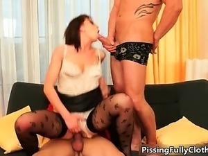 Hot brunette slut goes crazy sucking part3