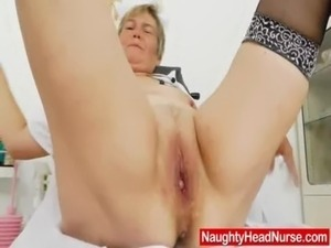 Mama masturbation with a pussy-expander in uniforms free