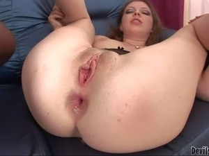 Young looking pale brunette slut with natural boobs and long