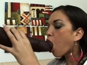 Colossal cock gets some mouth action from a lonely housewife