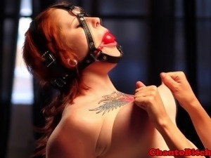 Redhead ginger sub tits manhandled with wooden pegs